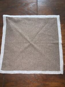 Brooks Brothers Brown + Grey Edge Pocket Scarf Brand New RRP £95 Silk/ Cashmere