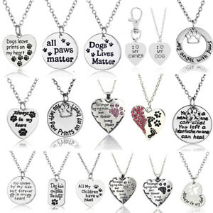 Silver Pet Lover Dog Cat Paw Print Tag Pendant Chain Necklace Jewelry Heart