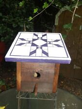 Handmade Solid Wood Birdhouse -Barn Quilt Design - Stain Glass Design