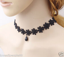 1 Pcs Hot Women's Gothic Choker Set Black Velvet Leather Necklace Simple Chocker