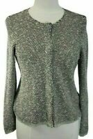 Eileen Fisher Linen Cardigan Sweater Womens Sz S SM Textured Knit Snap Front