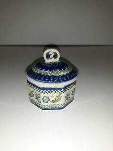 Polish Pottery Octagonal Trinket Box With Pretzel Lid.