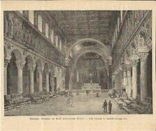 Stampa antica RAVENNA Sant' Apollinare Nuovo Romagna 1894 Old antique print