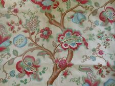Vintage  Retro Indienne Jacobean Floral  Fabric ~ Pink Blue Green ~ By the Yard