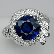 STYLISH! BLUE SAPPHIRE ROUND & WHITE SAPPHIRE STERLING 925 SILVER RING SIZE 6.25