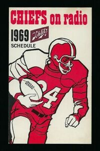 Rare1969 Kansas City Chiefs Schlitz Beer Pocket Schedule Super Bowl IV Season