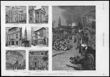 1886  Antique Print  - USA Charleston Earthquake St Michaels St Philips   (222)