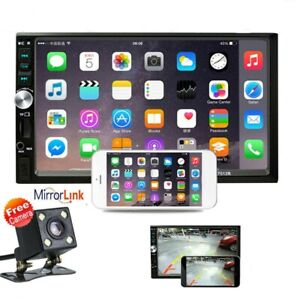 """7"""" Double 2 DIN Car MP5 Player Bluetooth Touch Screen Stereo Radio w/ Camera"""