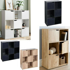4/6/9 Cube Storage Unit With Doors Bookcase Shelf Wood Cupboard White Black Oak
