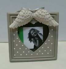 Resin heart angel wings white grey dot photo picture frame 3.5x3.5 RRP $24.95