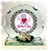 Mother's Day gift Collectable crystal Cut glass Plaque New Mum Present #8