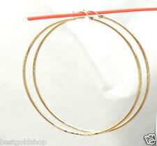 "2 3/4"" 2mm X 70mm Large Diamond Cut Hoop Earrings Real 10k Yellow Gold"
