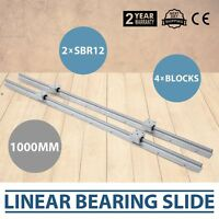 2 X SBR12-1000mm L 12mm Fully Supported Linear Rail Shaft Rod + 4 SBR12uu Block
