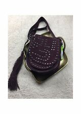 SAM EDELMAN Heidi STUDDED SADDLE BAG Portwine Burgundy Crossbody Tassle BNWT