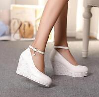 Women Wedge High Heel Platform Ankle Strap Wedding Pumps Lolita Casual Shoes New