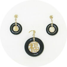 14k Yellow Solid Gold Blessing Dangles; Black Onyx Stud Earrings & Pendant TPJ