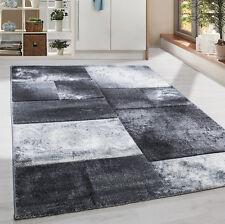 Moderner Design Konturschnitt Kurzflor Teppich Patchwork Wohnzim. Grau Meliert