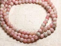 Fil 39cm 49pc env - Perles de Pierre - Opale Rose Boules 8mm