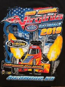 NHRA DRAG RACING 2019 VIRGINIA NATIONALS BLK  T- SHIRT  SIZE 2X