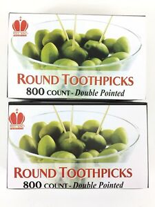 """2 Packs 2.5"""" ROUND Toothpicks 800ct Wooden Wood Toothpick Craft Double Pointed"""