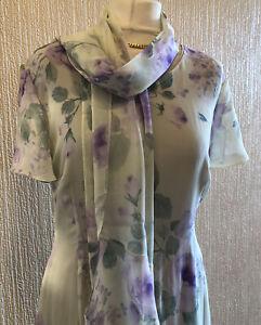 Jacques Vert UK 14 Silk Long Maxi Dress & Scarf Green Lilac Wedding Occasion