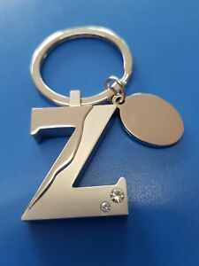 Personalised Initial Z Letter Keyring | Engraved Message Tag | Zoe Gift