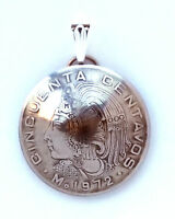 Mexico Aztec 50 Centavos Cuauhtémoc Domed Coin Pendant Necklace Vintage Necklace