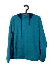 Duluth S'No Sweat Long Sleeve Hooded Sweater Striped Blue Womens XXL 2XL EUC