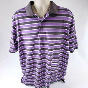 FootJoy FJ Golf Polo Mens XL Short Sleeve Shirt Purple Striped Athletic Fit