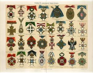 1895 OLD AWARDS AUSTRIA RUSSIA BRITAIN FRANCE SWEDEN SERBIA TURKEY GREECE Print