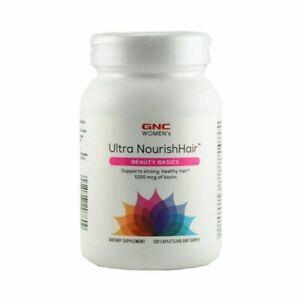 GNC Women's Ultra Nourish Hair Beauty Basics 1200mcg of Biotin 120 Caplets