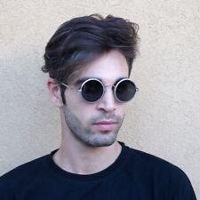 round silver metal sunglasses polarised lens retro Goth Steampunk 1980's 1970's