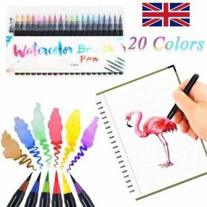 UK 20 Colour Set Watercolor Pens Brush Marker Drawing Painting Artists Oil Manga