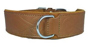 Tan Retro Design Leather Staffy Staffordshire Bull Terrier Dog Collar Bulldog