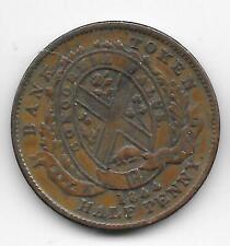 Vintage Province of Canada 1844 Bank Montreal Bank Token Half Penny High Grade