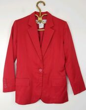 Vintage Yves Saint Laurent Red Blazer Cotton Rive Gauche France Womens Size 40