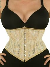 "New! 201 Authentic Gold Tan Beige Lace 40"" Underbust Waspie Steel Boned Corset"