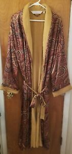 Vintage Victoria's Secret Silk Satin long Robe Terry Cloth Lined Gold Paisley XL