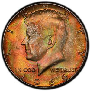 MS65 1966 50C Kennedy Silver Half Dollar, PCGS Secure- Vivid Rainbow EOR Toned