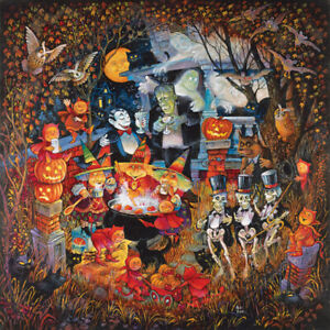 MONSTERS NIGHT OUT by BILL BELL - SunsOut 1000 piece HALLOWEEN puzzle - NEW