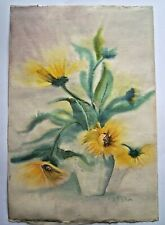 Original Art Watercolor Still Life Sun Flowers Hand Painted Sign Vintage 2 for 1