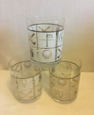 """Lot 3 Golf Clear Beverage Bar Glass Cup 4"""" Tall Gold Trim Black/Gold Images"""