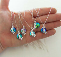 Women Unique Necklace Mermaid Fish Scale Pendant Rainbow Holographic Sequins
