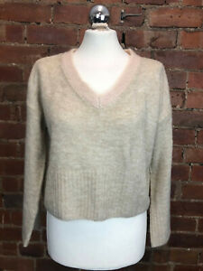 TopShop Cropped Beige Wool/Mohair V Neck Size 8Jumper Cosy Casual Winter Spring