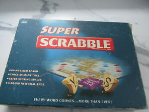 RARE SUPER SCRABBLE BY TINDERBOX GAMES 2006 WOODEN TILES AND RACKS