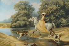 WALL JACQ. WOVEN VICTORIAN TAPESTRY Lady Riding Horse DOG PICTURE - NATURE DECOR