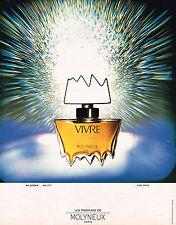 PUBLICITE ADVERTISING 104  1972  MOLYNEUX  parfum femme VIVRE