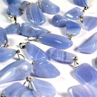 Chalcedon blau Trommelstein Anhänger mit silberner Öse Edelstein AA - Qualität