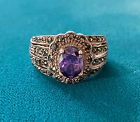 Vintage Sterling Silver 925 Purple Stone Marcasite ND Signed Ring Size 7.5