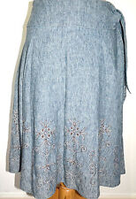 Next Skirt size 10 Blue Linen Floral embroider Stitched Calf Length Ladies Full